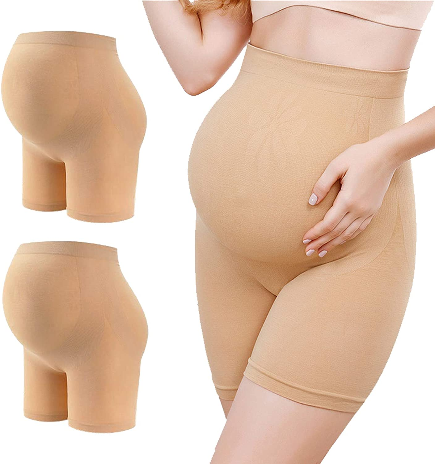 Fodlmeen Womens 2 Pack High Waist Mid-Thigh Pettipant Pregnancy Maternity Seamless Shapewear Underwear for Belly Support