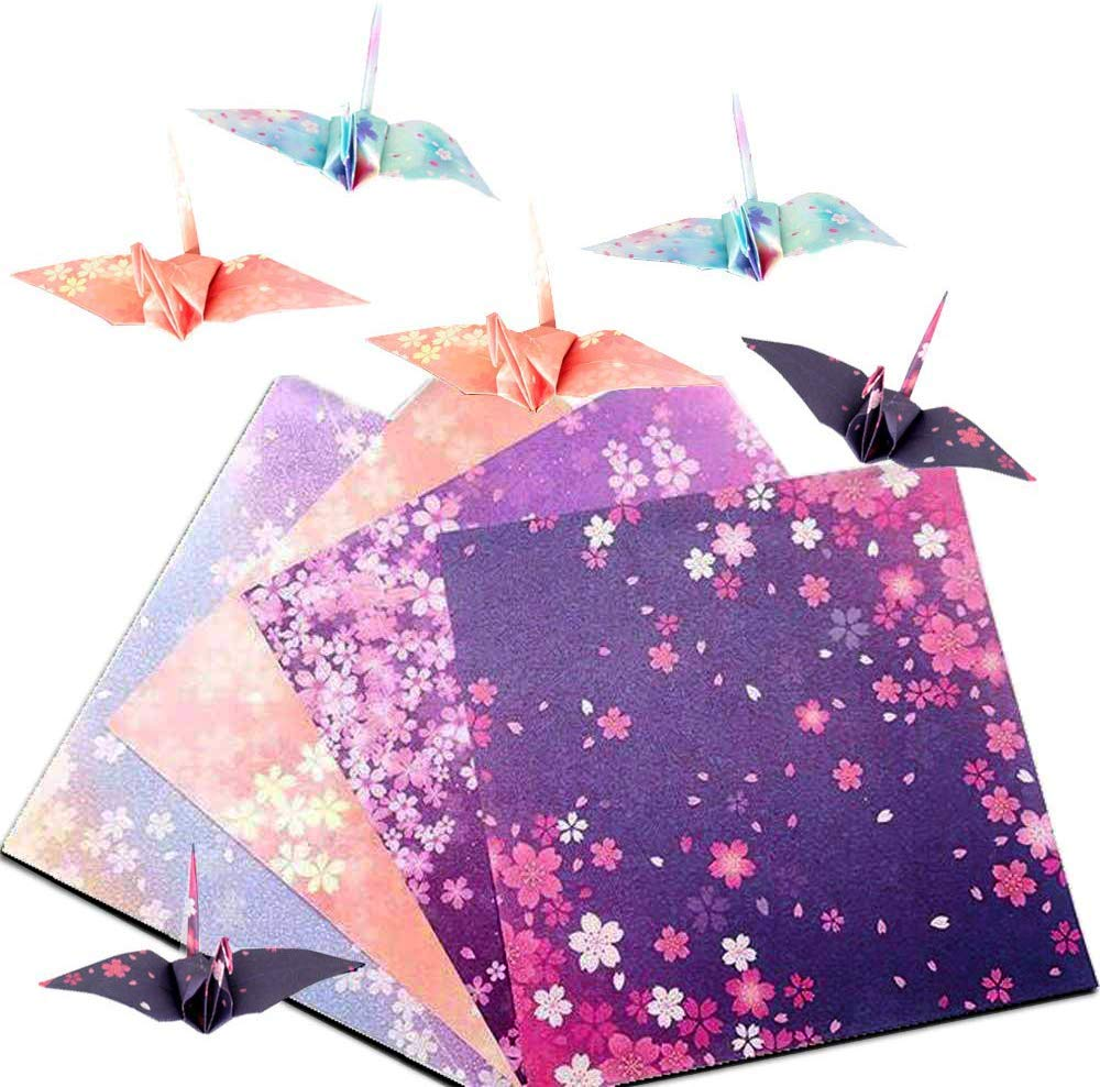 Glitter Square Folding Paper for DIY Crafts UPlama 400 Sheets 10CM Shiny Rainbow Origami Paper Square Origami Paper Decoration Paper