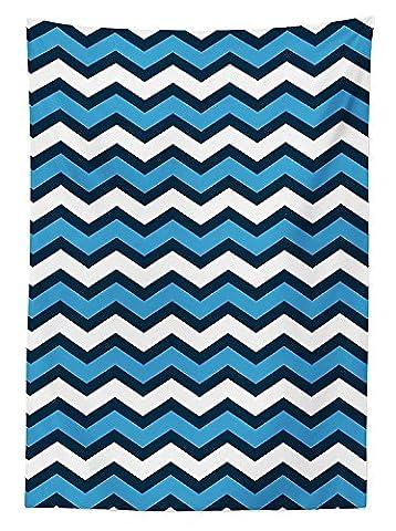 Geometric Decor Tablecloth Chevron Pattern in Nautical Colors Geo Marine Ocean Zag Zig Parallel Stripes Art Dining Room Kitchen Rectangular Table - Geo Coffee Table