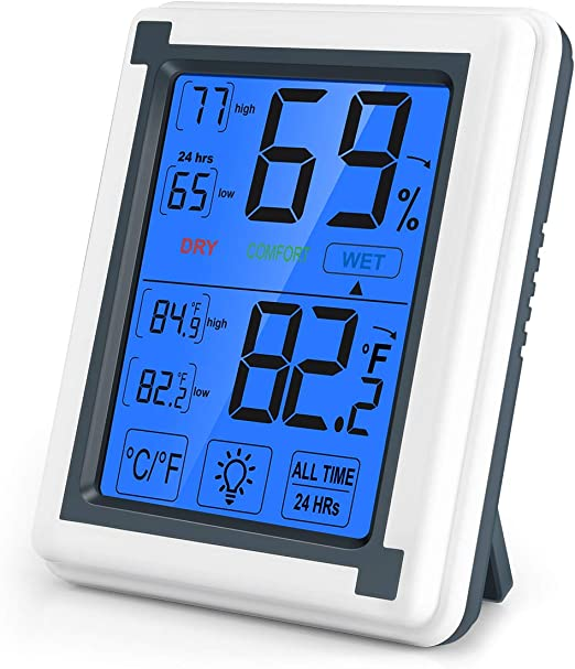 Touchscreen Magnet Temperature Humidity Digital Hygrometer Thermometer Black