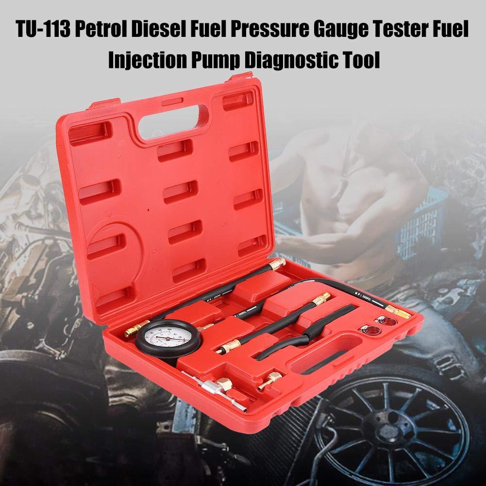 0-100PSI Kit de medidor de presi/ón de inyecci/ón de combustible Herramienta de diagn/óstico de la presi/ón del aceite de la gasolina del probador del indicador TU-113
