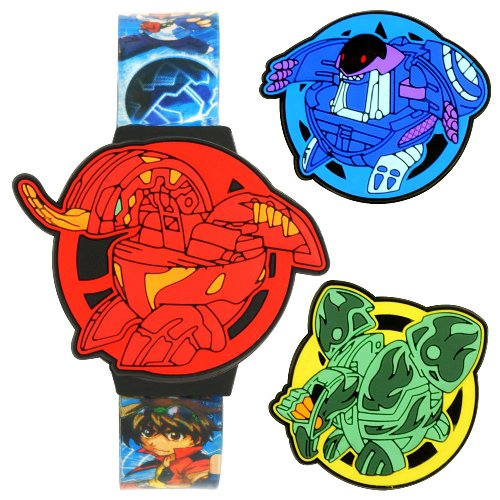 Bakugan Kids BKG037 Interchangeable Red/Blue/Green Tops LCD Watch