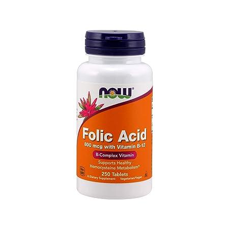 Now Folic Acid 800 mcg with Vitamin B-12