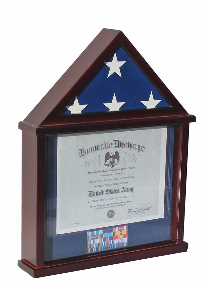 Flag Display Case Shadow Box Frame for 3'X5' U.S. Flag (Not for Funeral or Memorial Size Flag) Mahogany Finish
