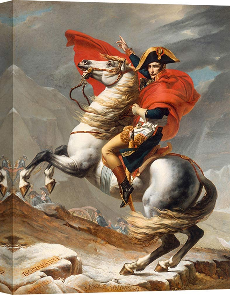 Art Print Cafe – Impresion Sobre Lienzo - Cuadro – Jacques-Louis David, Napoleón cruzando los Alpes – 60x40 cm