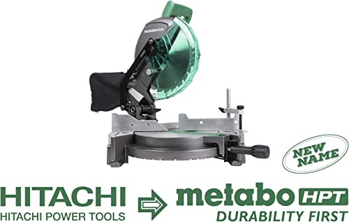 Metabo HPT C10FCG 10-Inch Compound Miter Saw, 15-Amp Motor, Single Bevel, 0-52 Degree Miter Angle Range, 0-45 Degree Bevel Range, Large Table, 10-Inch 24T TCT Saw Blade, 5 Year Warranty