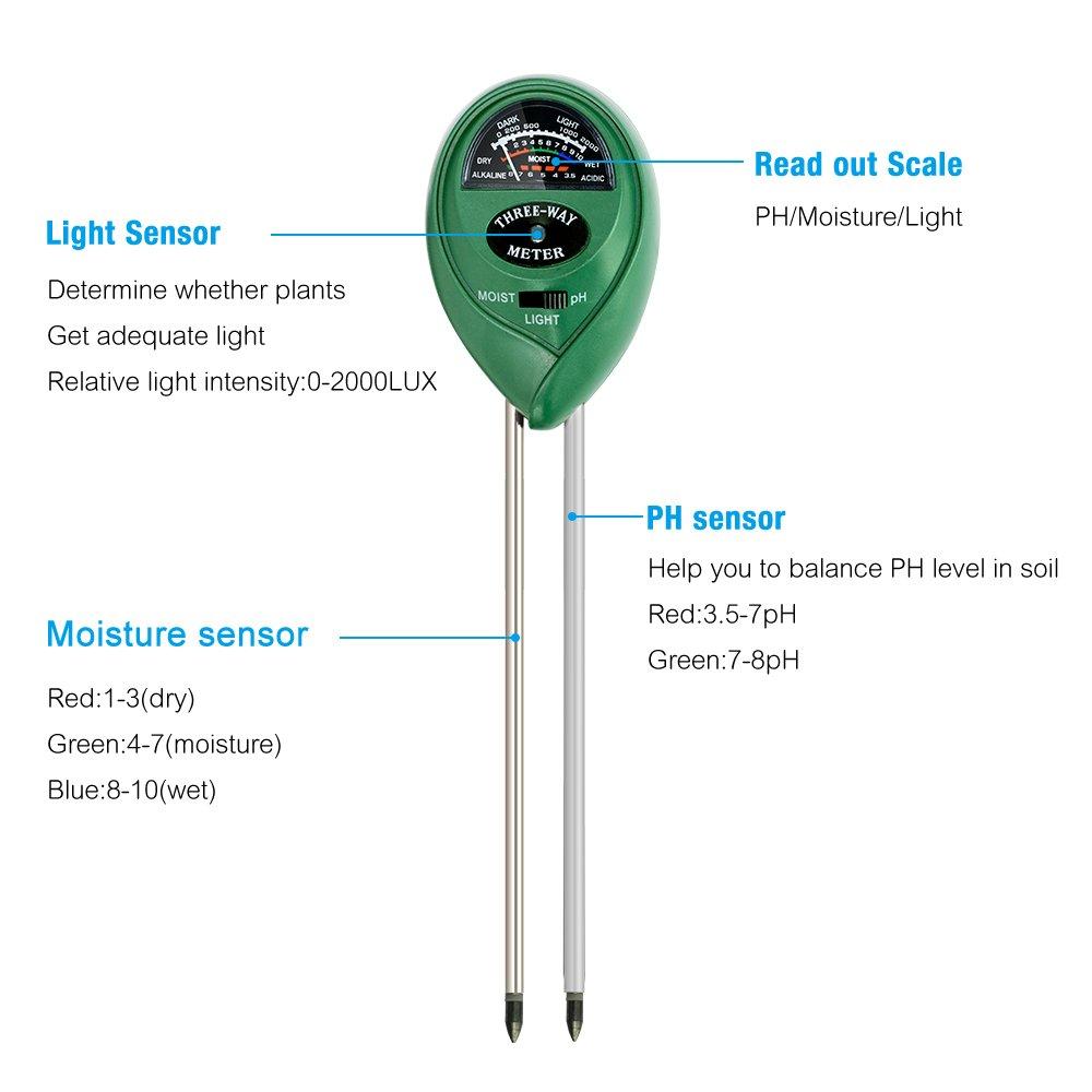 MoonCity Testeur de sol 3 en 1 testeur de lumi/ère et dacidit/é//pH Indicateur dhumidit/é