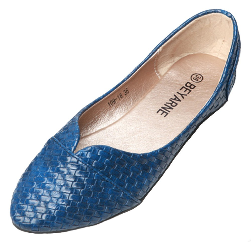 SFNLD Women's Fashion Pointy Low Cut Slip on Flats Shoes Blue 7 B(M) US