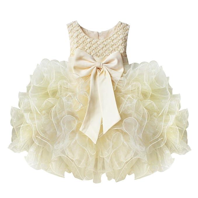 Freebily Vestido de Princesa Bautizo Boda Fiesta Comunión para Bebé Niña Recién Nacido (3 Meses