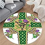 Nalahome Modern Flannel Microfiber Non-Slip Machine Washable Round Area Rug-ot Design on Christian Cross Icon Wreath Flowers Retro Floral Welsh Pattern Mustard Green area rugs Home Decor-Round 71''