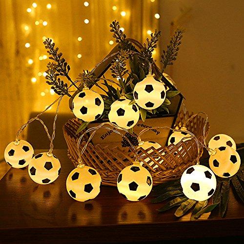 20 luces LED de hadas de fútbol – ELINKUME® 2M/6.56ft con pilas blancas cálidas luces de cadena de fútbol para fiesta…