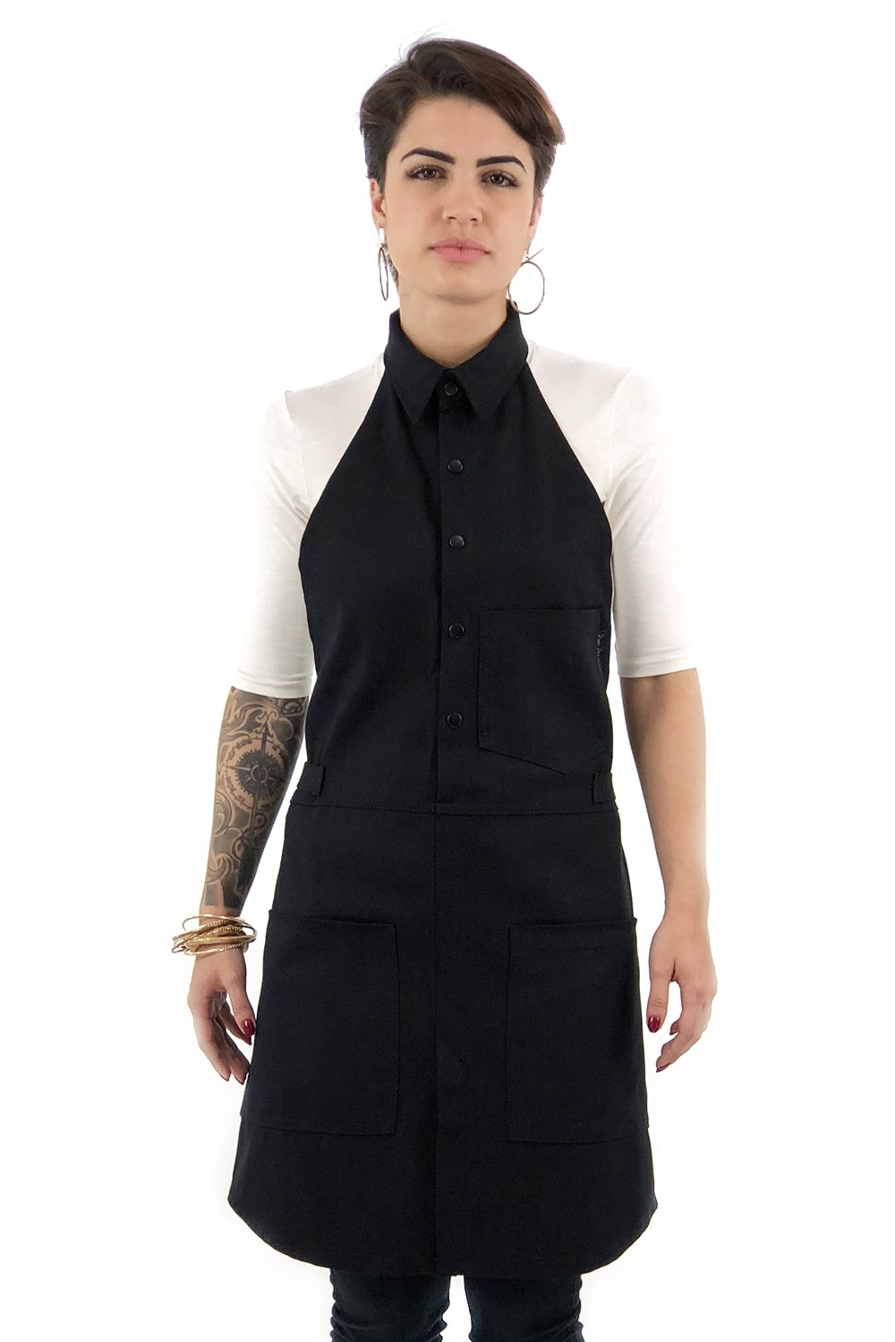 Under NY Sky Button-Down Fine Black Apron – Durable Twill and Split-Leg – Adjustable for Men and Women – Pro Cook, Barista, Mixologist, Bartender, Cobbler, Server Aprons – Small Size