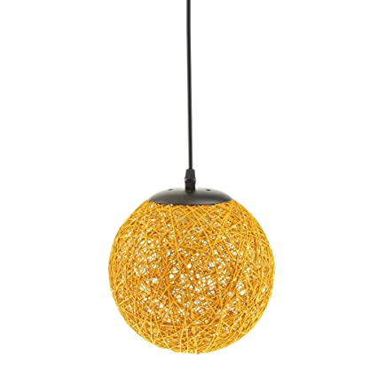 MagiDeal Lámpara de Techo Forma de Bola de Tela Tejida de Mimbre Luz Colgante Interior 20CM Decoración de Cafetería de Restaurante de Hogar - ...