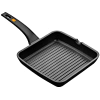 BRA Efficient - Sartén grill asador con rayas, aluminio fundido con antiadherente Teflon Platinum Plus
