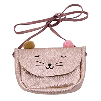 Cute Kitten Purse Crossbody Shoulder Bags Messenger Bag Carteras pequeñas PU Leather Cat Ear Bag para niños niñas (Champagne) (Color : -, tamaño ...
