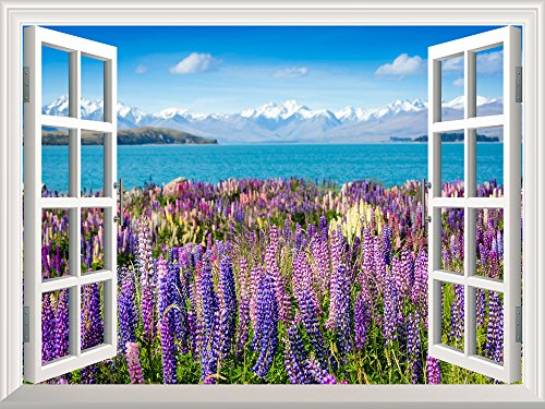 Removable Wall Sticker Wall Mural Lanvender Field by the Lake in the Mountains Creative Window View Wall Decor