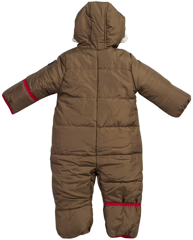 Newborn//Infant Ben Sherman Baby Boys Bubble Snowsuit Polar Fleece Lined Pram with Sherpa Fur Hood