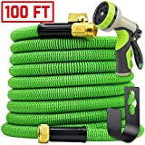 Water Hose 100ft Expandable w/Nozzle - Heavy Duty Flexible Leakproof Retracting Hose - 9-Pattern High-Pressure Water Spray Nozzle & Bag & Hanger - No Kink Tangle Free Water Hose (Green)