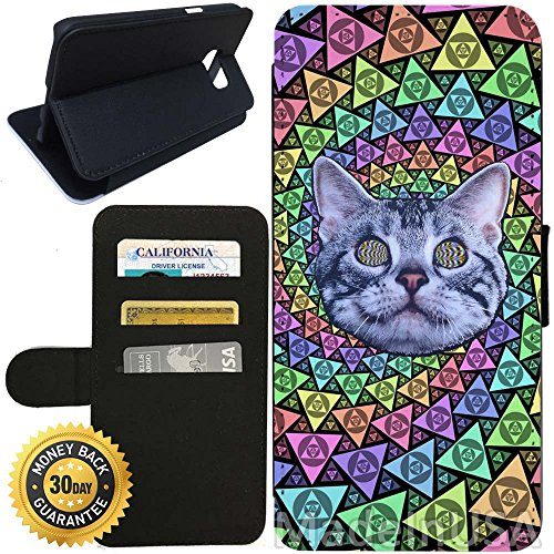 Flip Wallet Case for Galaxy S7 (Psychedelic Cat Trip LSD College Frat Life) with Adjustable Stand and 3 Card Holders | Shock Protection | Lightweight | Includes Stylus Pen by - Strap Frat