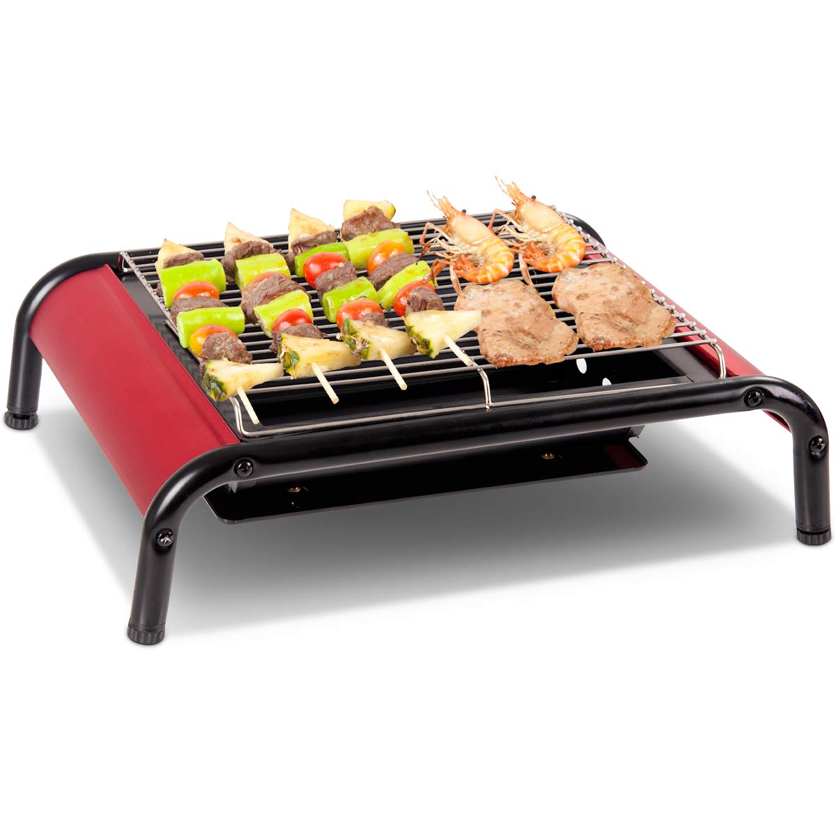 Costway Charcoal BBQ Grill Portable Type & Large Freestanding Type Barbecue Cooking With Clip Suitable for Camping Party Market Garden Patio Outdoor (Large Freestanding Type)