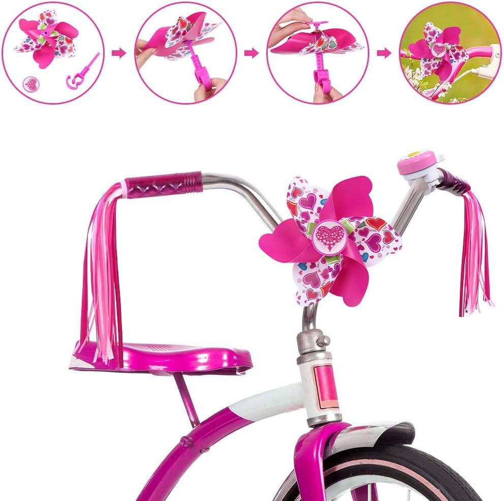 Farway Kids Bike Bell Bike Streamers Bike Handlebar Streamers for Childrens,Bike Pinwheel for Girls and Boys Childrens Day Gift Bike Accessories