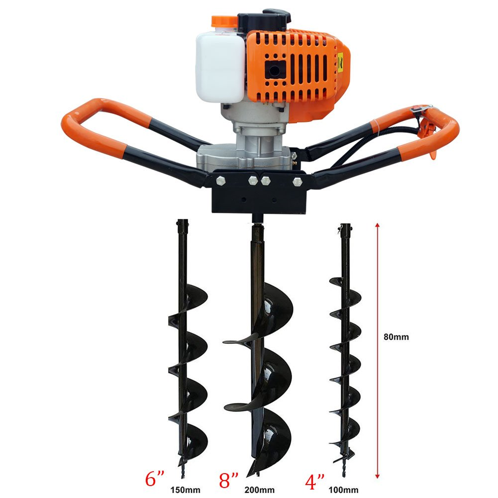 One Man Earth Auger with 55cc, 2 Cycle, Full Crankshaft Engine +3 Bit 4 6 8 bg+OT-C001-090+OT-C001-091