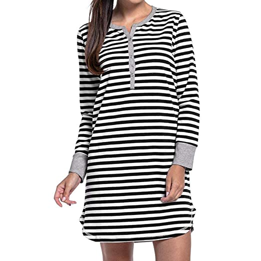 NREALY PJ Womens Long Sleeve Button Nursing Nightie Stripes Maternity Breastfeeding Dress(XL, Black