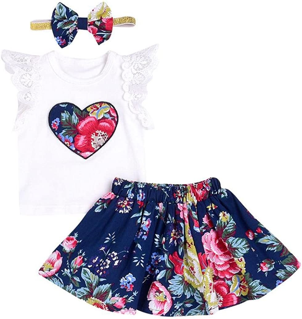 Kimanli Kids Baby Girls Outfit Clothes Floral Embroidery Strapless T-Shirt Tops