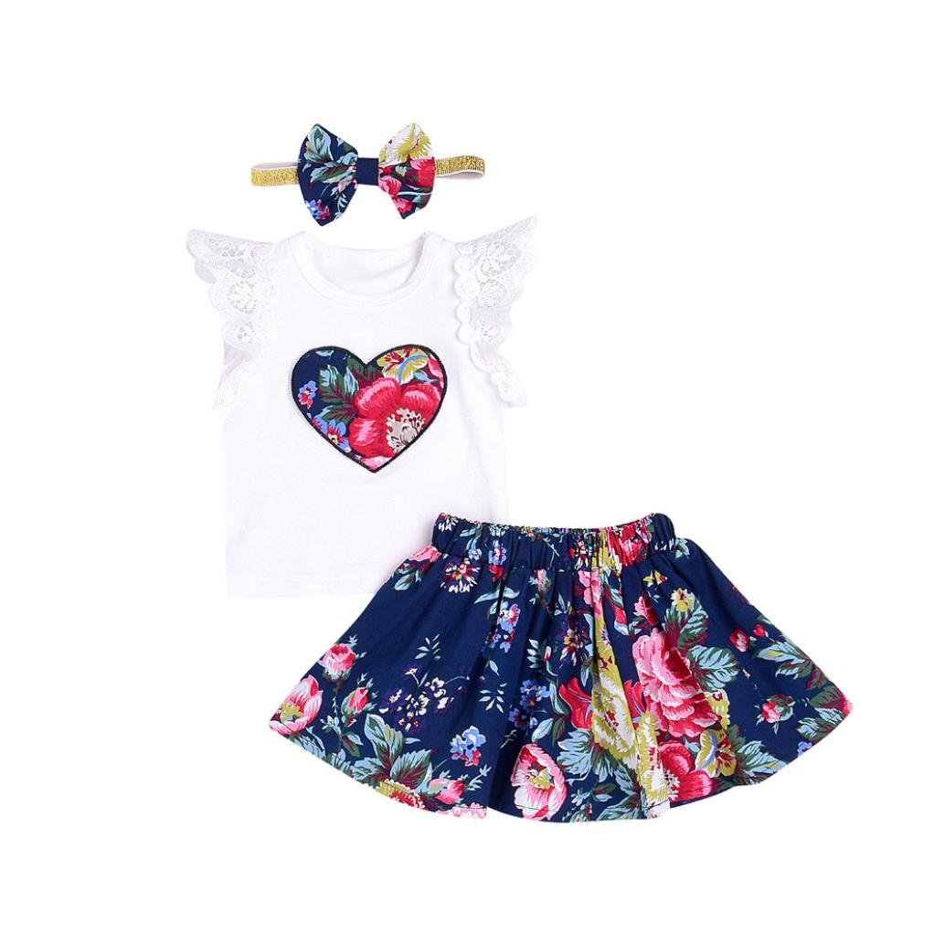 Bestoppen Newborn Baby Girls 3Pcs Clothing Outfits Sets Cute Sleeveless Floral Printing Lace Romper Tops+Skirt Set Baby Gift Cotton Jumpsuit Bodysuit Clothes for 1-2 Years Old