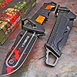 New ZOMBIE HUNTER Black/Orange RED BLOOD Spring Assisted Opening...