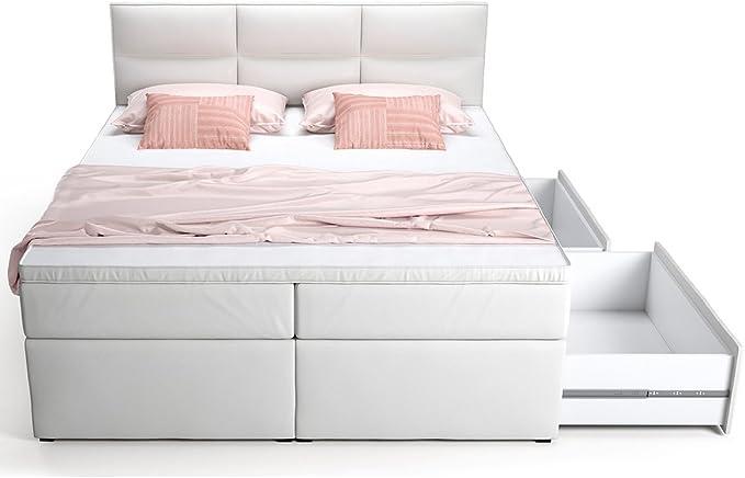Cama con somier cama con cama Buzón Cajón Blanco Viana cama doble Cama Hotel muelles ensacados Topper