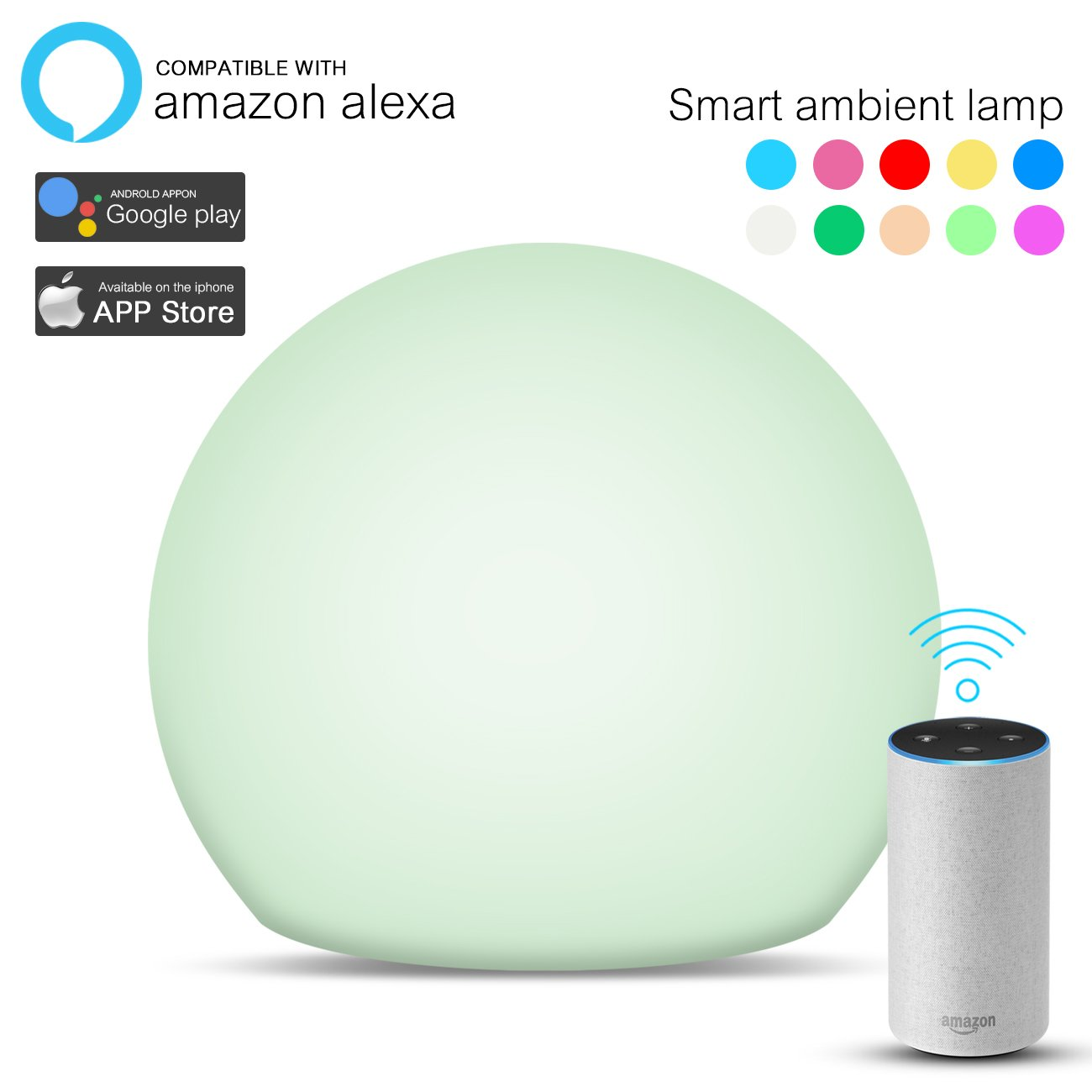 Smart Table Lamp Compatible with Alexa Google Home, Wiijoo Touch Bedside Lamp Wifi Controlled by Smartphone, Portable LED Dimmable Ambient Night Light Color Changing RGB for Home