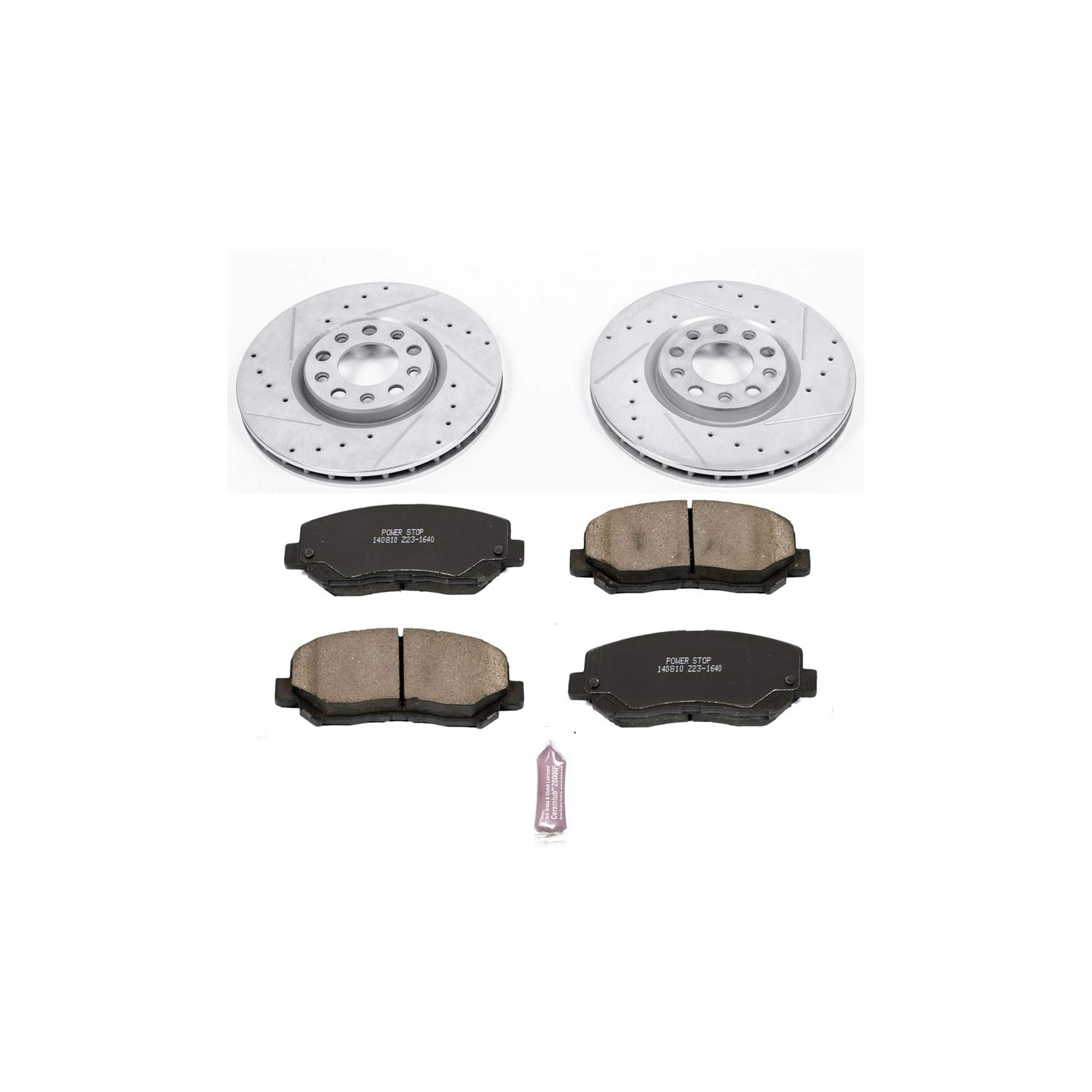 Power Stop K5961 Rear Z23 Evolution Brake Kit with Drilled//Slotted Rotors and Ceramic Brake Pads