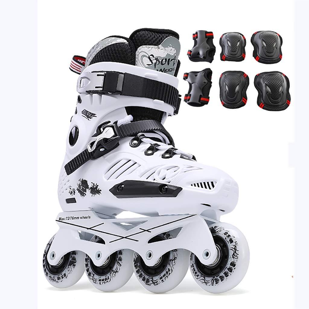 インラインローラースケート大人のフィットネスローラーブレード安全で丈夫な青年屋外レーシングスケート+保護ギア (Color : 白い, Size : EU 40/US 7.5/UK 6.5/JP 25cm) 白い EU 40/US 7.5/UK 6.5/JP 25cm