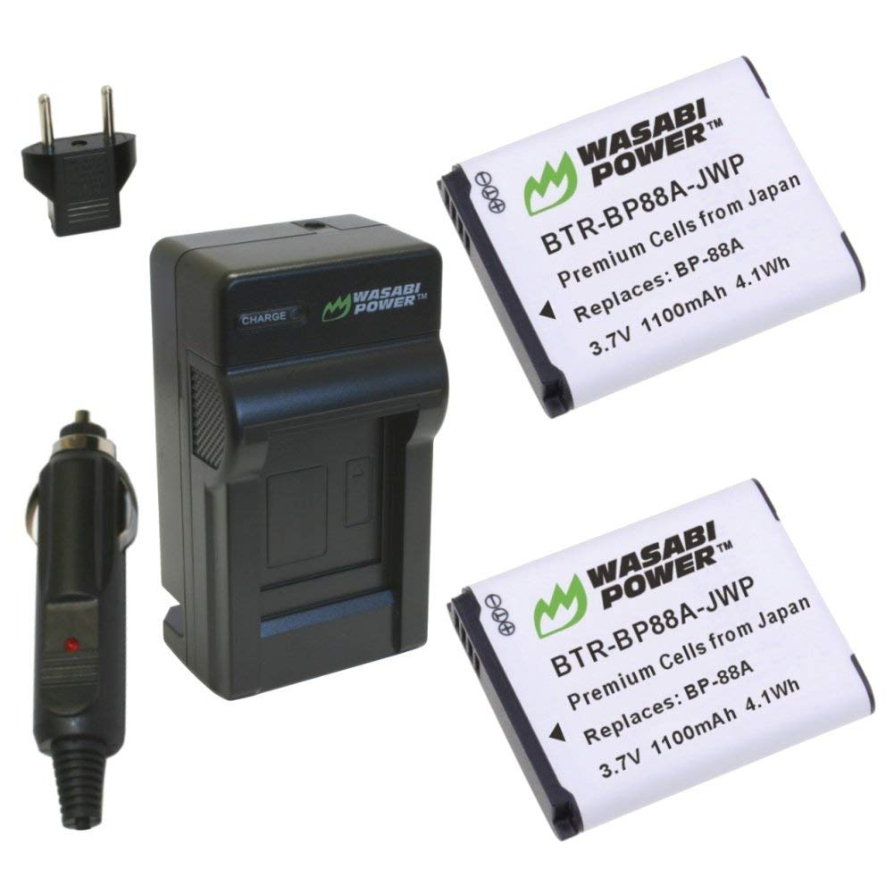 Wasabi Power Battery (2-Pack) and Charger for Samsung BP88A, EA-BP88A and Samsung DV200, DV300, DV300F