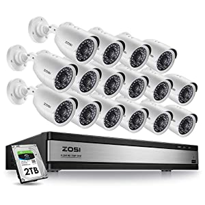 ZOSI 16 Channel Security Camera System for Home,1080N 16 Channel TVI DVR Recorder with (16) 720p Night Vision WeatherproofSurveillance CCTV Camera Outdoor/Indoor (2TB Hard Drive Built-in)