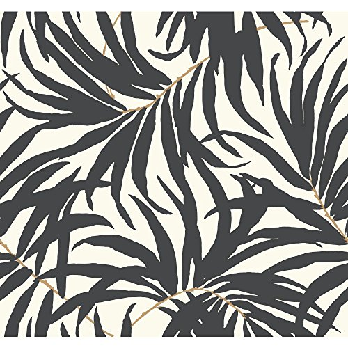 Removable Leaf - York Wallcoverings Tropics Bali Leaves Removable Wallpaper, Off Off White/Darkest Grey/Tan