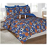 Twin & Full 6 Pcs or 8 Pcs Comforter/ Coverlet / Bed in Bag Set with Toy (Full, Sport)