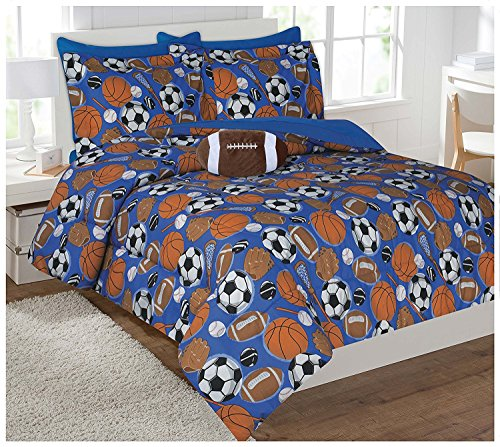 MK Collection 6pc Twin Size Comforter Set Sports Dark Blue Baseball Basketball Football Soccer New