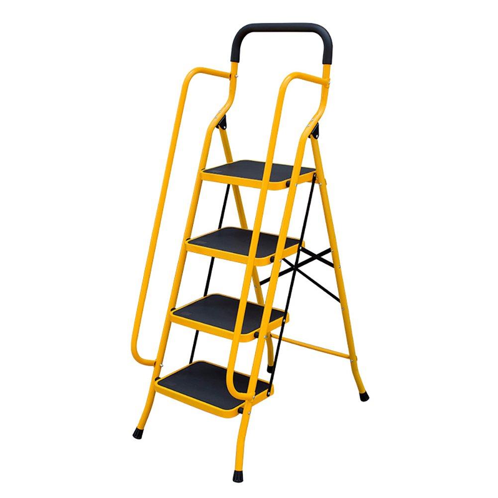YD-Step stool 4 Pedal Stool - Folding Ladder armrests - Adult Indoor Kitchen Portable footrest/Stepladder / Storage Rack/Flower Stand /&