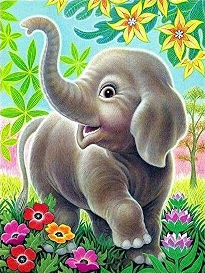 Full Drill 5D Elephant Diamond Painting Embroidery Arts Craft DIY Home Decor