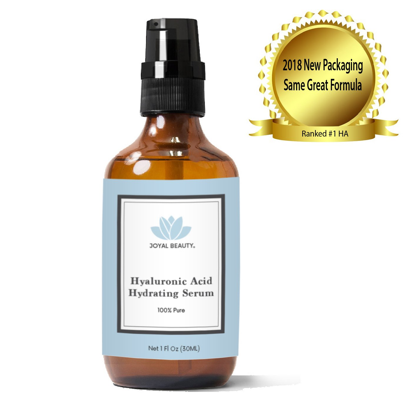 Joyal Beauty 100% Pure Best Hyaluronic Acid Serum for Face Skin Eyes Lips. Anti-aging Hydrating Original Organic Hyaluronan for Topical Use. Daily Deep Dermal Hydration. Ranked Number 1 HA. 1 oz.