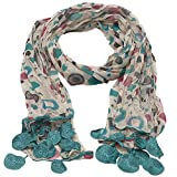 Girls Turquoise Grey Dotted Round Crochet Leafy Accents Scarf