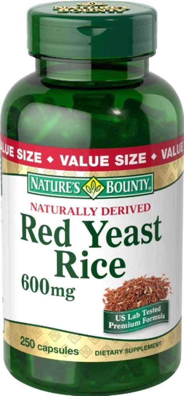 Nature's Bounty Red Yeast Rice 600 mg Capsules 250 ea (Pack of 6)