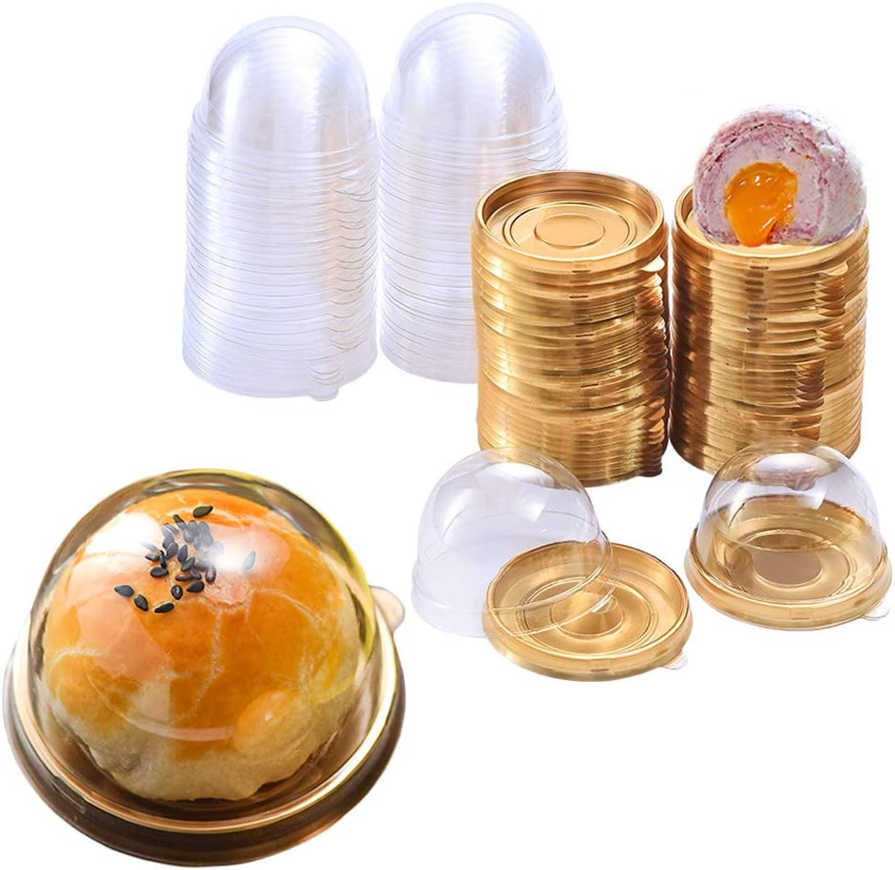 50PCS 2 pulgadas de Mini Portatartas con Tapa,Mini caja de Regalo de Cumpleaños para Bodas, caja de Pastel,Recipiente para Conservar y Transportar Tartas (Redondo Dorado)