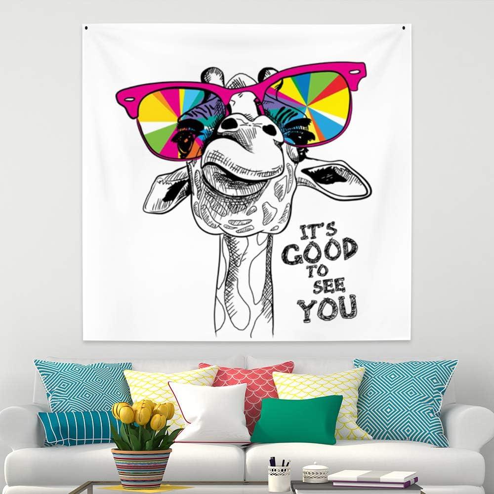 Leowefowa Cool Giraffe Wear Colorful Sunglass Tapestry Cute Animal Wall Hanging Baby Kids Room Decor Wall Art Blanket 29.5x29.5inch Wall Tapestry Living Room Bedroom Dorm Decor