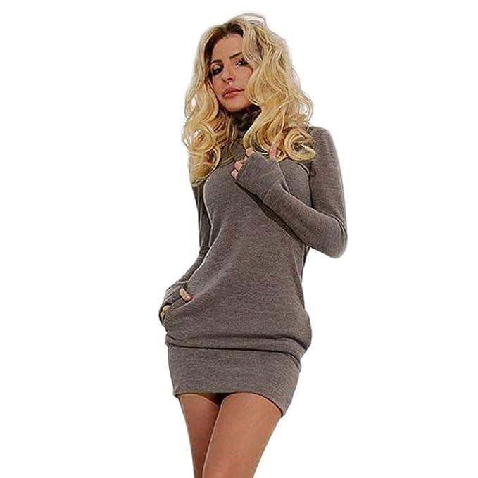 2e8d00fc96d730 feiXIANG Bodycon Clubwear Einfarbig Langarm Partykleid Elegante Beiläufiges  T-Shirt Kleid: Amazon.de: Bekleidung