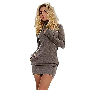 d2b453207764 Homebaby Vestito Donna Invernale Casual Vintage Retro Abito da Ragazze  Elegante Sexy Maniche Lunghe Tops Sottile Mini Abito Corto da Festa   Amazon.it  ...