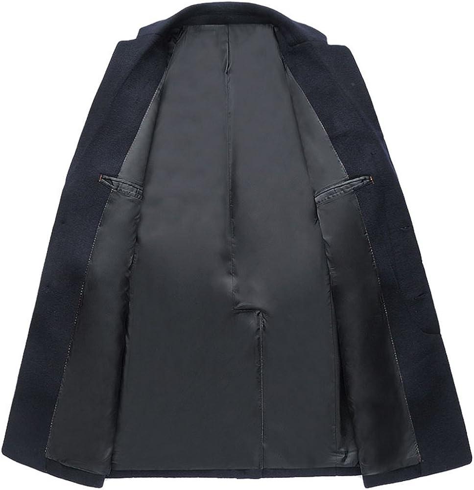 D-Sun Mens Wool Coat Long Gentleman Business Overcoat Trench Coat