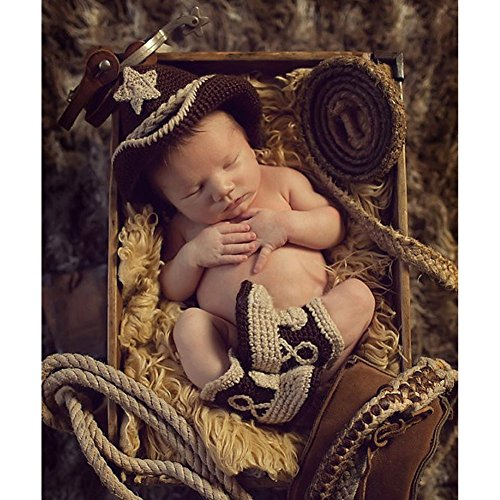 Fashion Unisex Newborn Boy Girl Baby Outfits Photography Props Cowboy Hat Boots (Baby Cowboy Costume)